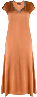 Fabiana Filippi Rhinestone Neckline Silk Dress