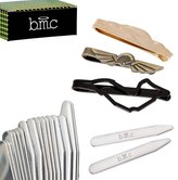 BMC 3pc Mens Stainless Steel Ornately Etched Design Tie Bar Clips and 8pr Metal Collar Stays Set
