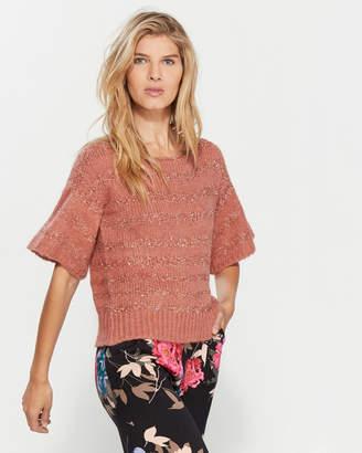 Gaudi' Gaudi Metallic Stripe Half Sleeve Sweater