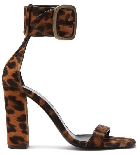 Saint Laurent Loulou Buckled Leopard Print Sandals - Womens - Leopard