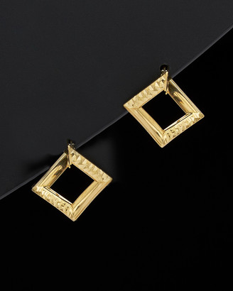 Italian Gold 14K Diamond Cut Fancy Square Mini Hoops
