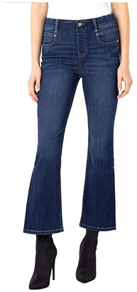 Liverpool Gia Pull-On Crop Flare Side Pleat in Brentwood (Brentwood) Women's Jeans