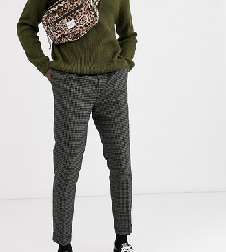 Asos DESIGN Tall tapered smart pants in khaki check