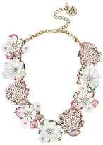 Betsey Johnson Flower & Stone Cluster Frontal Necklace