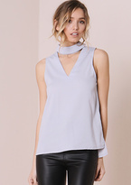 Missy Empire Evelyn Grey High Neck Cut Out Cami Top