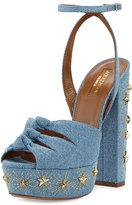 Aquazzura Mira Studded Denim Platform Sandal, Blue