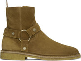 Saint Laurent Tan Suede Nevada Harness Boots