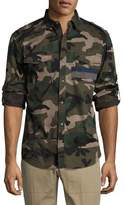 Valentino Camo Twill Military Shirt, Green