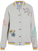 Mira Mikati Lost Boy Embroidered Crepe Bomber Jacket - Gray