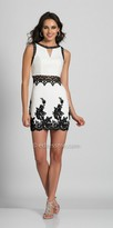 Dave and Johnny Lace Applique Sheer Midriff Fitted Homecoming Dress