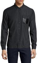The Kooples Leather Flap Pocket Sportshirt