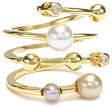 Majorica 4mm Multi-Pearls with Cubic Zirconia on Endless Sterling Silver Ring, Size 7