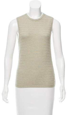 Oscar de la Renta Sleeveless Silk-Cashmere Sweater