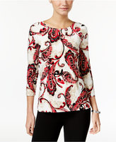 JM Collection Paisley-Print Jacquard Top, Only at Macy's
