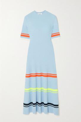 Victoria, Victoria Beckham - Ruffled Striped Ribbed-knit Midi Dress - Blue