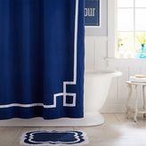 Emma Ribbon Trim Shower Curtain, Royal Navy