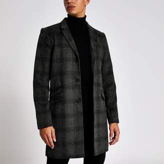 River Island Mens Only & Sons Grey check single breasted coat