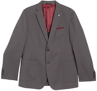 Ben Sherman Dark Grey Solid Two Button Notch Lapel Union Fit Sport Coat