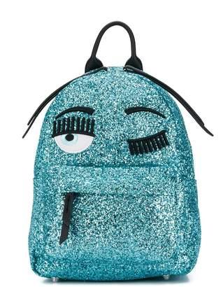 Chiara Ferragni Kids winking eye glittered backpack