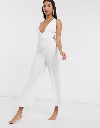 Fashion Union plunge front beach jumpsuit in white