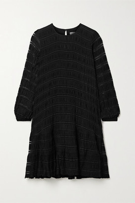 Anine Bing Viola Lattice-trimmed Plisse Stretch-knit Dress - Black