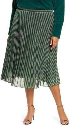 Estelle Chevron Pleated Metallic Knit Skirt
