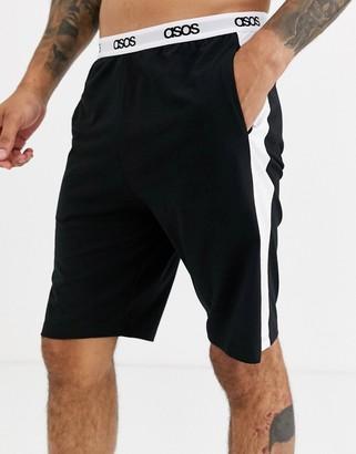 ASOS DESIGN lounge pyjama short in black with side stripe