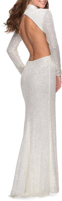 La Femme Sequin Long Sleeve Cutout Gown