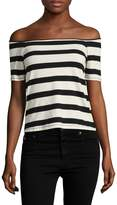 Splendid Women's Cotton Striped Off Shoulder Tee