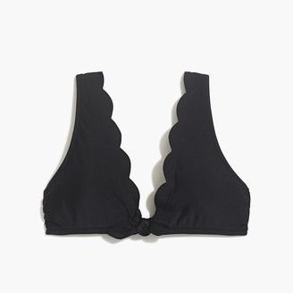 J.Crew Scalloped tie-front bikini top