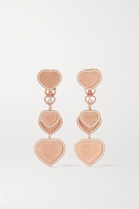 Chopard 007 Happy Hearts Golden Hearts 18-karat Rose Gold Diamond Earrings