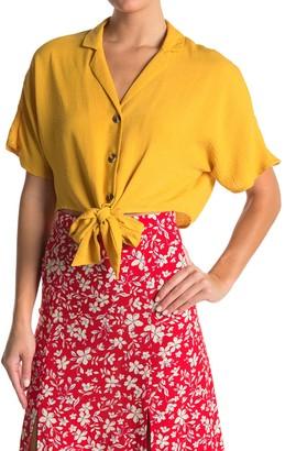 Topshop Kylie Tie Front Crop Shirt