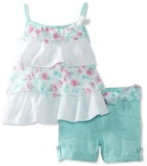 Little Lass Girls 2-6X 2PC Short Set With Ruffles And Flowers