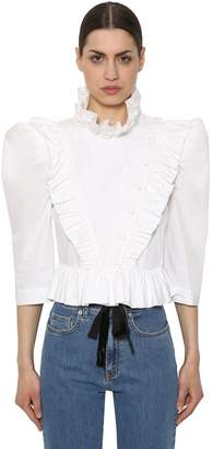 Isa Arfen RUFFLED COTTON POPLIN SHIRT