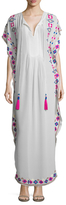 Printed Trim Drawstring Maxi Dress