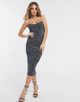 Asos Design DESIGN bandeau corseted sparkly rib midi dress
