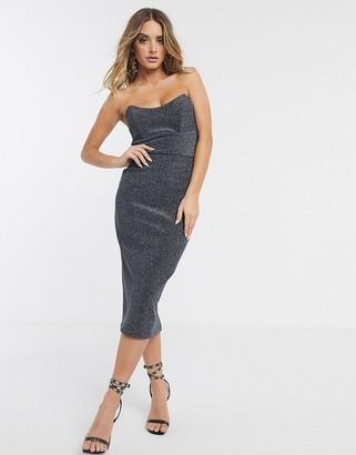 ASOS DESIGN bandeau corseted sparkly rib midi dress