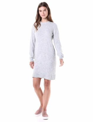 Daily Ritual Amazon Brand Women's Mid-Gauge Stretch Crewneck Sweater Dress Light Grey Heather Small