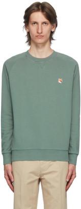 MAISON KITSUNÉ Green Fox Head Patch Sweatshirt