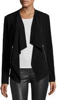 Neiman Marcus Drape-Front Zip-Pocket Jacket