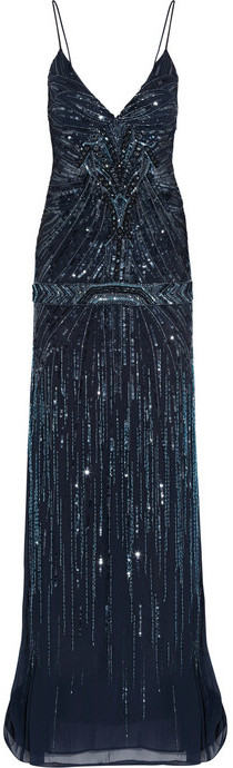 Roberto Cavalli Embellished georgette gown
