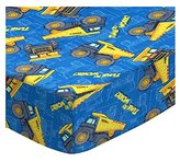 SheetWorld Fitted Pack N Play (Graco) Sheet - Constructions Trucks Blue - Made In USA - 27 inches x 39 inches (68.6 cm x 99.1 cm)