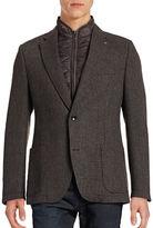Bugatti Grid-Weave Zip Gilet Overcoat