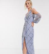Asos DESIGN Petite maxi dress in lattice and floral artwork embellishment with blouson sleeve
