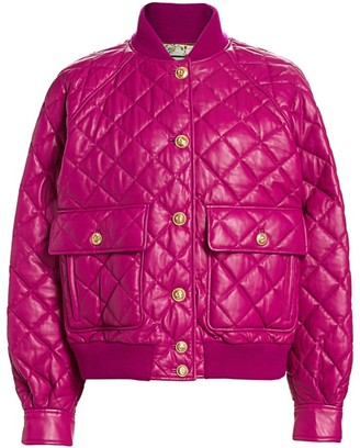 Gucci Padded Leather Quilted Bomber Jacket