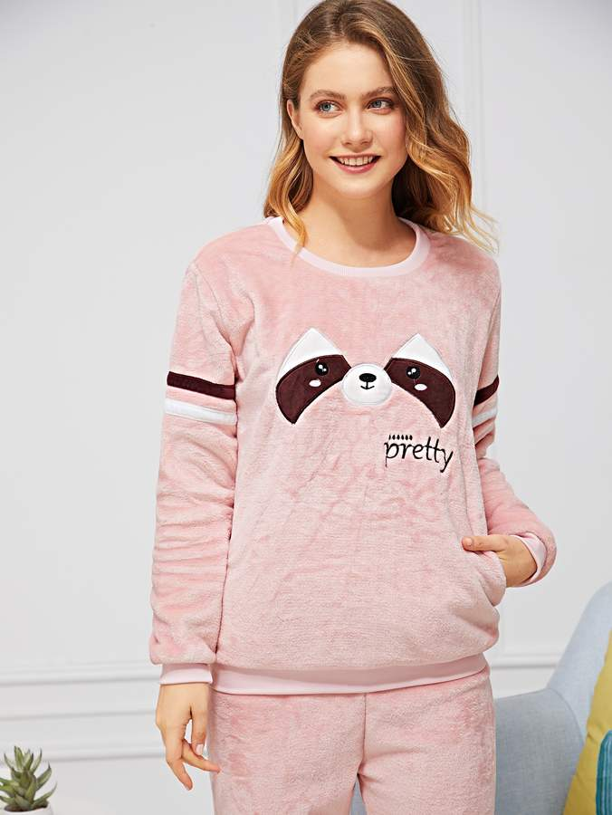 Animal & Letter Embroidered Plush Pajama Set