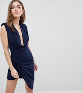 John Zack Petite Sleeveless Wrap Front Mini Dress