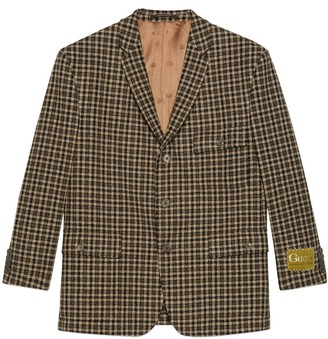 Gucci Check wool jacket with label