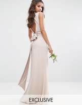 TFNC WEDDING High Neck Maxi Dress with Bow Back