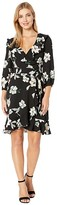 Donna Morgan Floral Printed Long Sleeve Chiffon Wrap Short Dress (Black/Ivory) Women's Clothing